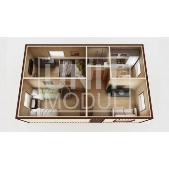 (МД-06) Модульный дом дачный из 2-х бытовок (блок-контейнеров) с раздельными спальнями и гостиной
