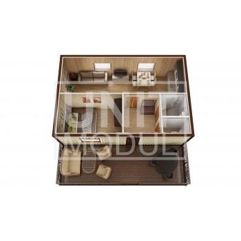 (МД-07) Модульный дом дачный из 3-х бытовок (блок-контейнеров) с верандой