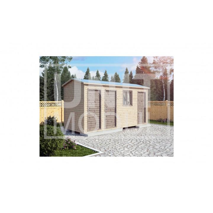 (ХБ-23) Хозблок туалет душ двухскатная крыша 5*2
