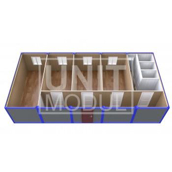 (ПЗ-51) Модульный штаб из 5-ти бытовок (блок-контейнеров) с кабинетами и туалетами