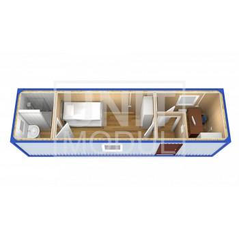 (БЖ-09) Бытовка металлическая (блок-контейнер) жилая с рабочим местом и туалетом