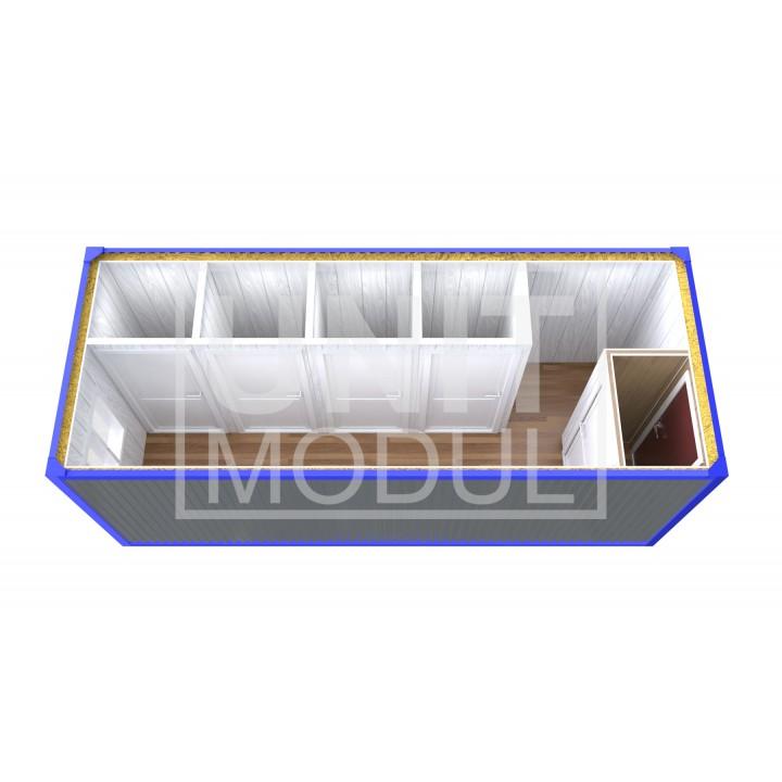 (СБ-10) Бытовка металлическая (блок-контейнер) сантехническая с тамбуром и душевыми недорого