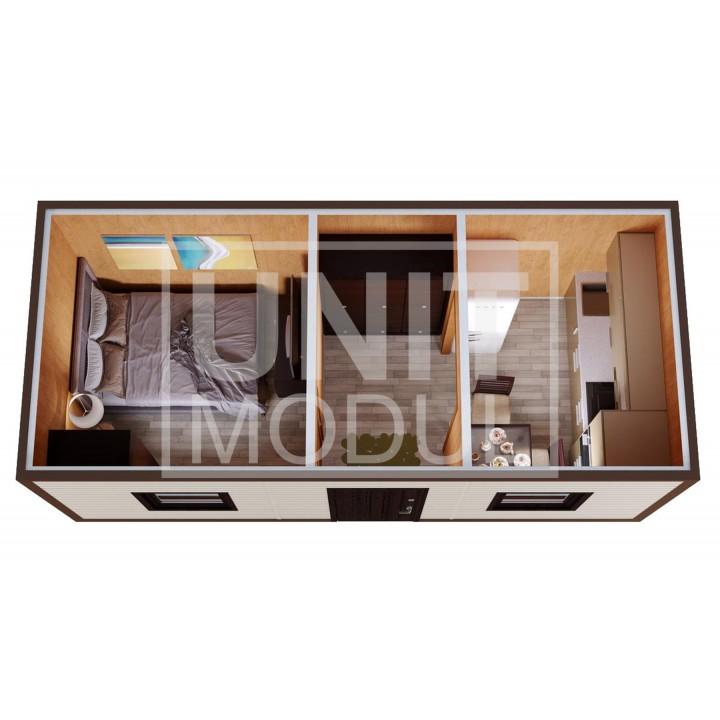 (БД-12) Бытовка металлическая (блок-контейнер) дачная с прихожей и комнатой недорого