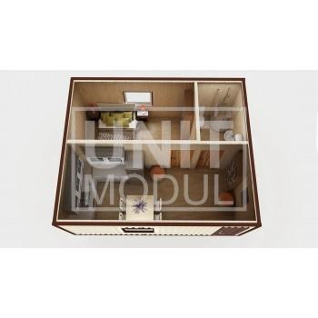 (МД-01) Модульный дом дачный из 2-х бытовок (блок-контейнеров) c душевой, спальней и комнатой отдыха