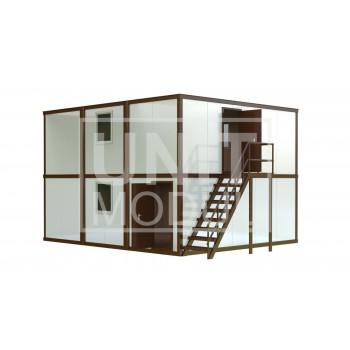 (МС-03) Модульное здание из шести блок-контейнеров (сэндвич-панели) с наружной лестницей