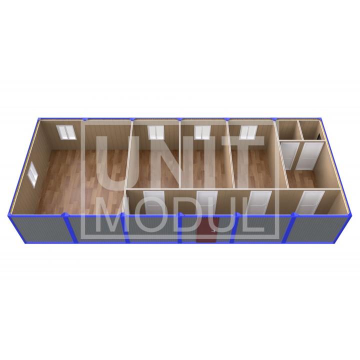 (ПЗ-60) Модульный штаб из 6-ти бытовок (блок-контейнеров) с кабинетами и залом для совещаний