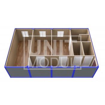 (ПЗ-43) Модульный штаб из 4-х бытовок (блок-контейнеров) с кабинетами и туалетами