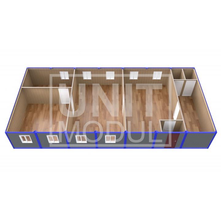 (ПЗ-70) Модульный штаб из 7-ми бытовок (блок-контейнеров) с кабинетами и залом для совещаний недорого