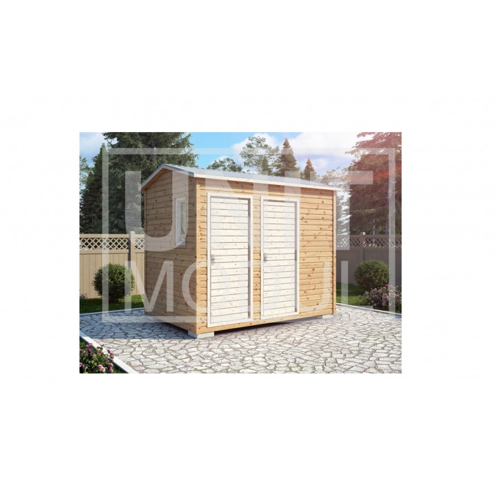 (ХБ-10) Хозблок с туалетом и душем  двухскатная крыша 3*2