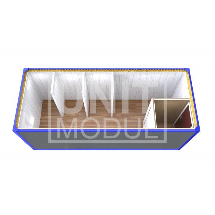 (СБ-09) Бытовка металлическая (блок-контейнер) сантехническая с тамбуром и перегородками недорого