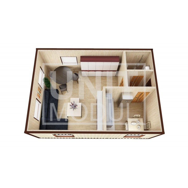 (МД-04) Модульный дом дачный из 2-х бытовок (блок-контейнеров ) с отдельной кухней недорого