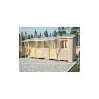 (ХБ-29) Хозблок туалет душ с навесом двухскатная крыша 6*2