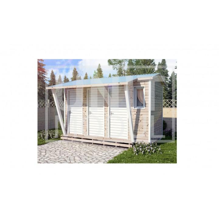 (ХБ-20) Хозблок туалет душ с навесом двухскатная крыша 4*2 недорого