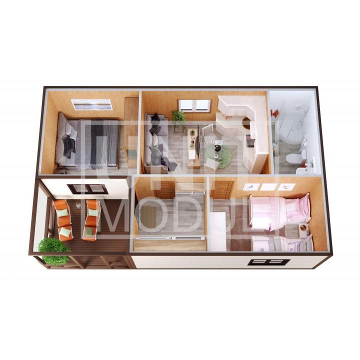 (МД-12) Модульный дом дачный из двух бытовок (блок-контейнеров) с крыльцом и гостиной