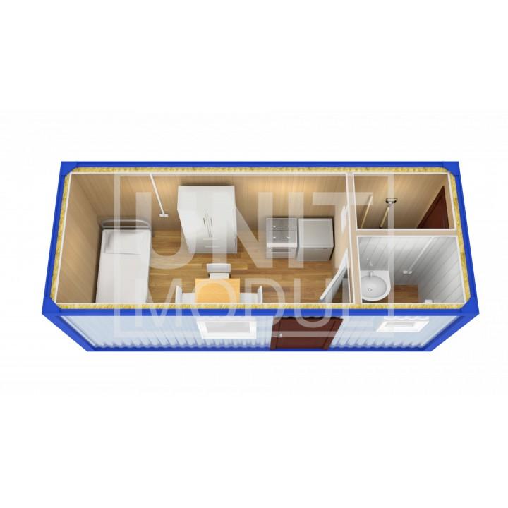 (БЖ-08) Бытовка металлическая (блок-контейнер) жилая с туалетом и хоз помещением недорого