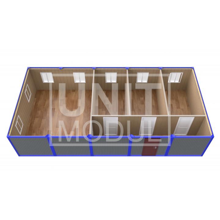 (ПЗ-52) Модульный штаб из 5-ти бытовок (блок-контейнеров) с кабинетами и залом для совещаний недорого
