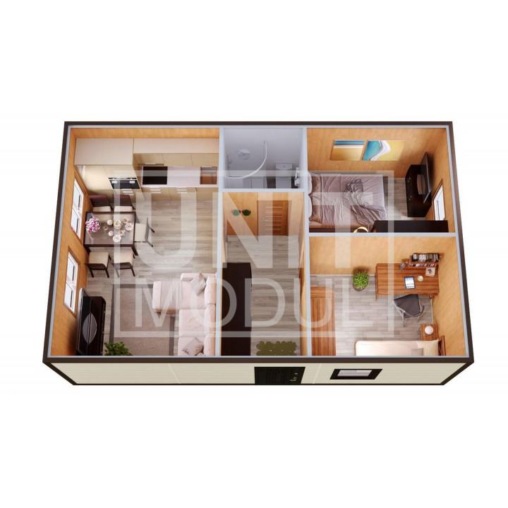 (МД-11) Модульный дом дачный из двух бытовок (блок-контейнеров) с раздельными спальнями и гостиной
