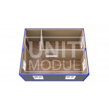 (ПЗ-12) Модульный штаб из 2-х бытовок (блок-контейнеров) с кабинетом