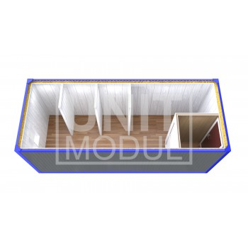 (СБ-09) Бытовка металлическая (блок-контейнер) сантехническая с тамбуром и перегородками
