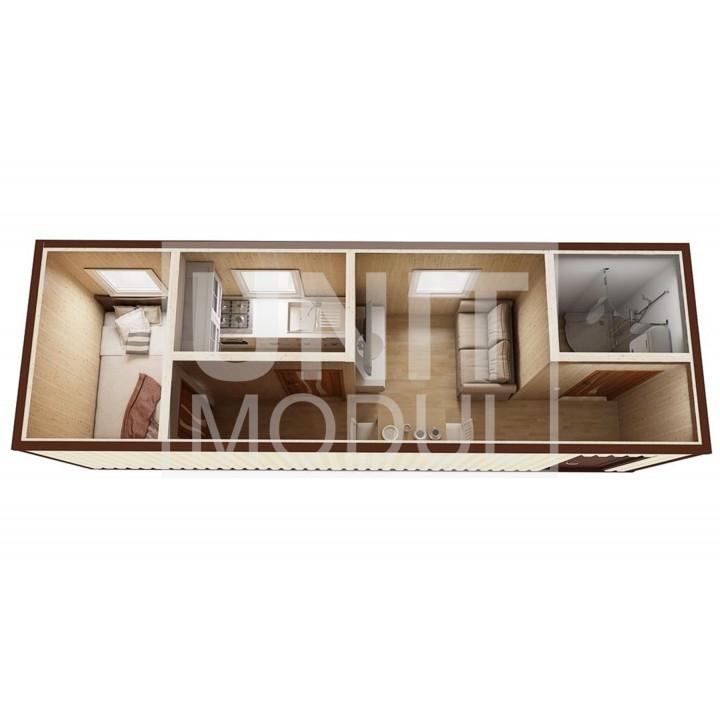 (БД-10) Бытовка металлическая (блок-контейнер) дачная с кухней и душевой недорого