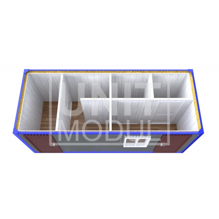 (СБ-12) Бытовка металлическая (блок-контейнер) сантехническая с тамбуром, душевой и туалетами недорого